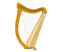 Troubadour Harp 22 string Carved Body with Bag