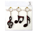 Key Ring Set(3Pc)Clef/Quav/Semi Blk