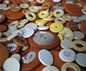 Sax Pad: Tan Leather. Plastic Disc 39mm