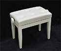 Piano Bench-Adjustable. Buttoned Seat. White