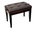 Piano Bench-Adjustable. Buttoned Seat. Mahogany