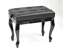 Piano Bench-Adjust. Buttoned Seat w/Cabriolet legs-Black