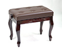 Piano Bench-Adjust. Buttoned Seat w/Cabriolet legs-Mahog
