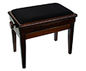 Piano Bench-Adjust. Wood Edge w/Compartment Walnut