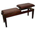 Piano Bench-Duet. Dual Adjustable. Walnut