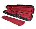 Shaped Violin Case-HQ Woodshell Black/Wine Suede
