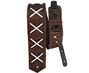 Basso Guitar Strap - Leather X Pattern Dark Brown DG02
